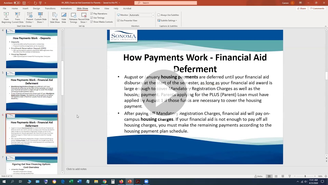 Financial Aid Essentials PowerPoint with video play button