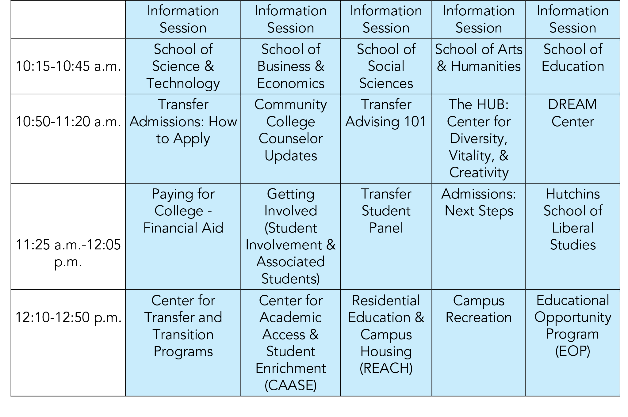 Workshop schedule for Virtual Transfer summit